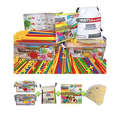 Orbit Education Large 800 400 Piece STEM Straws and Connectors Building Sets With 100% Cotton Tote Bag Storage Box Colorful Educational Straw Blocks for Ultimate 800 PCS