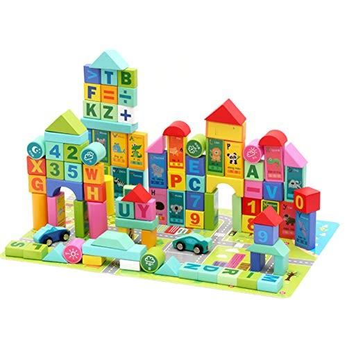 Wooden Children's Digital Letters Castle Building Blocks Large Block Toy Set Stacking Game 100 Pieces Suitable for Preschool Children
