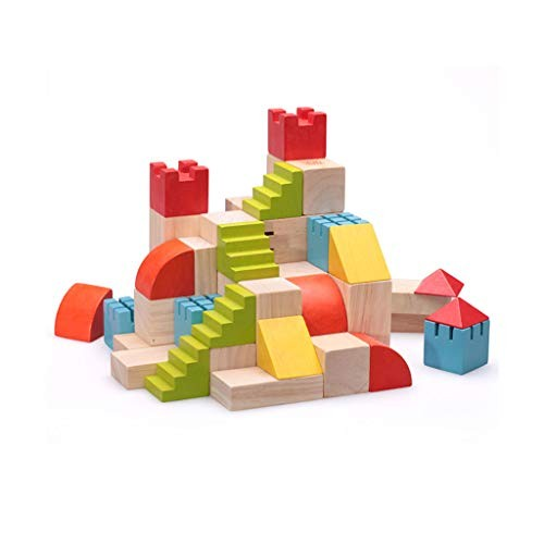 LINGLING-Building Blocks Children's Building Toys Large Wooden Educational Puzzles Stacking Games Size Multi-Colored