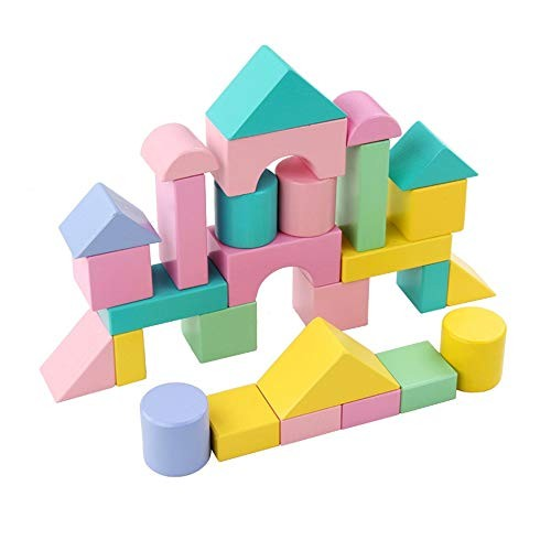 SMLZV Wooden Building Blocks Construction Toys with Bright Color & Various Shapes Stacking Early Educational Block for Toddlers