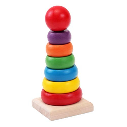STOBOK Wooden Rainbow Stacker Classic Toy Building Blocks Tower Educational Toys for Infant Kids