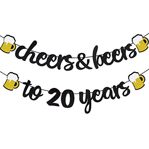 Cheers & Beers to 20 Years Black Glitter Banner for 20th Birthday Wedding Aniversary Party Supplies Decorations – PRESTRUNG