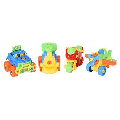 ManxiVoo Take Apart Toys Set Airplane Toy Train Racing Car Motorcycle Engineering Multicolour