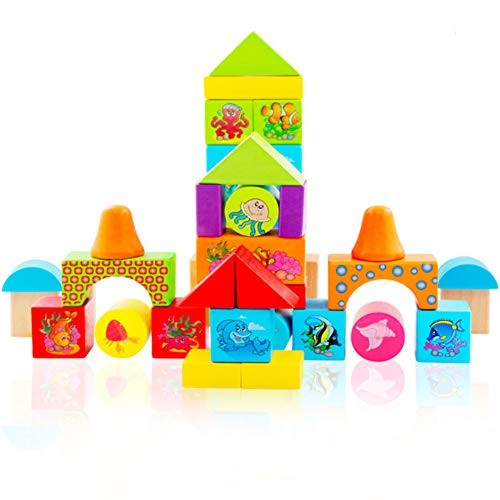 38 Pieces of Marine Animals Wooden Building Blocks Set Children's Educational Intelligence Stacked Toy Barrels The Best Gift