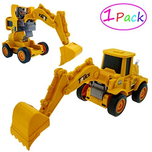 Tockrop Push and Go Construction Vehicle Friction Powered Robotics Cars Deformation Car 2-in-1 Robot Inertia Force Toy Great Present for Toddlers Kids Digger