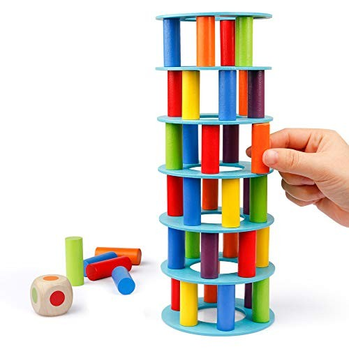 Coogam Wooden Tower Stacking Game Fine Motor Skill Building Blocks with Dice Toppling Leaning Toy Montessori Family Party Games for Kids and Adults