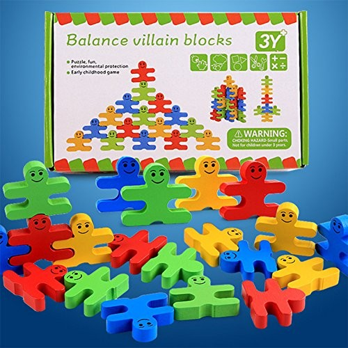 RONSHIN Children Educational Building Blocks Toy Wooden Colorful Balance Villain Set Gift for Kids Toddlers
