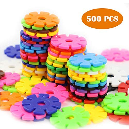 Snow Flakes 500 Piece Building Blocks Construction STEM Toys Interlocking Plastic Disc Set Kids Classroom Creative and Educational Snowflakes Best Gifts for Boys & Girls Ages 3+