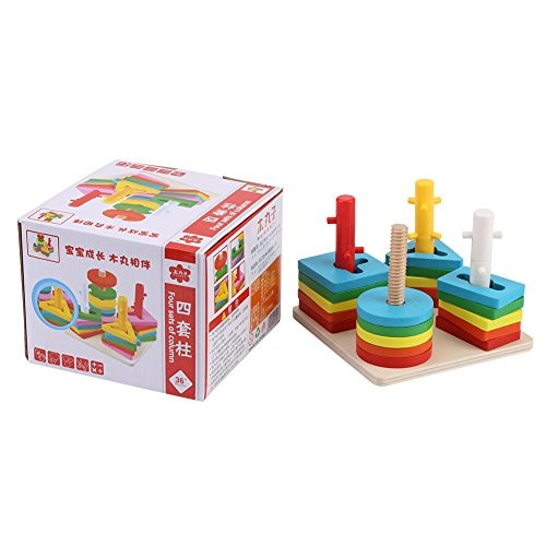 Oumij Wooden Educational Toys 5 Colors and 4 Graphics Stacking Blocks Puzzles Games Building for Kids Toddlers Adults