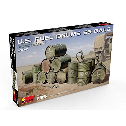 Miniart 35592 US Fuel Drums 55 Gallons 1 35 Scale Building and Accessories Series Plastic Figure Model Kit