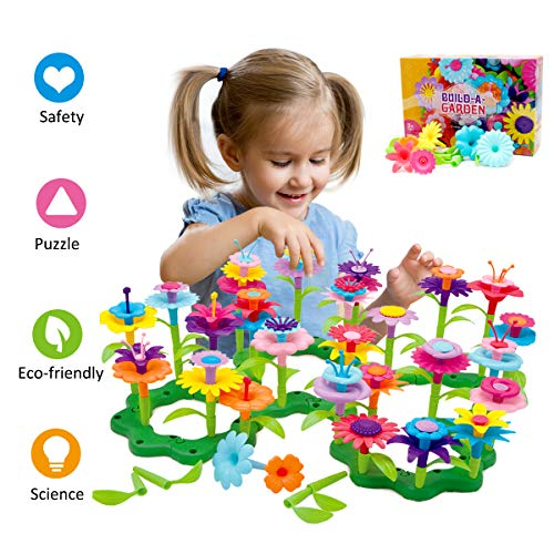 Byserten Gifts for 3-6 Year Old Girls Flower Garden Building Set 98 PCS Arts and Crafts 11 Colors Birthday Christmas
