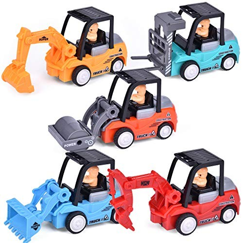 5 Pack Construction Toys Set with Excavator Bulldozer Road Roller Lift Truck Drilling Truck