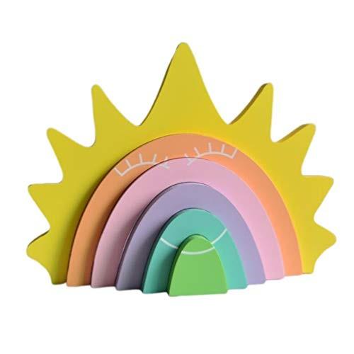 Garneck Rainbow Building Blocks Wooden Educational Toys for Children Room Decoration