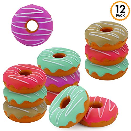 SRENTA 3 Rainbow Novelty Squishy Donut Stress Balls Squeeze Relief Donuts Pack of 12