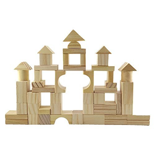 Limaomao Building Blocks Toys 100 Pcs Wooden Set Developmental Toy for Kids and Toddlers Over 3 Years Old DIY Creativity Educational Children's Color Beige Size Free Size