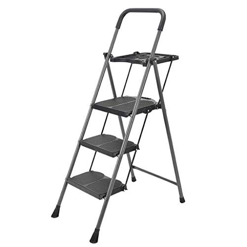 Three-Step Ladder Wide Pedal Anti-Skid Folding Herringbone Indoor and Outdoor Engineering Stair Stool Thickening Household Change Curtains Bulb