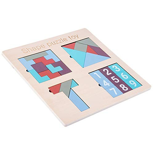 Sweetichic Wooden Building Blocks Puzzle Toy Tangram Jigsaw Intelligence Colorful 3D Russian Game Montessori Educational Gift for Baby Kids