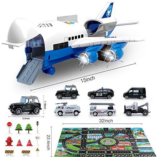 Bimonk Police Car Toy Set with Airplane Educational Vehicles and Inertia Wheel Airplane Toys