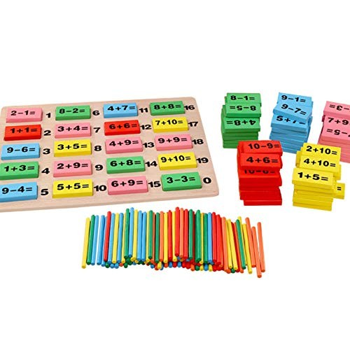 FRIDG Wooden Number Puzzle Stick Dominoes Building Block Children Digital Math Early Education Toy