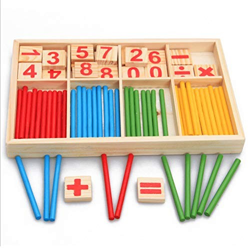 FRIDG Wooden Number Puzzle Counting Sticks Building Block Montessori Mathematical Kids Education Toy