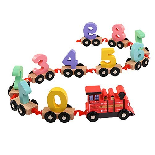 FRIDG Wooden Number Puzzle Children's Early Education Building Blocks Numbers Train Assembling Toy Red