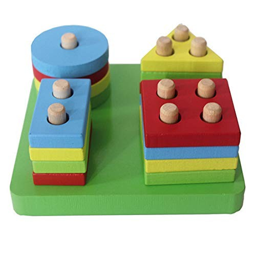ZDYWY Wooden Geometric Shape Sorting Board Stacking Sorter Puzzle Toys for Kids