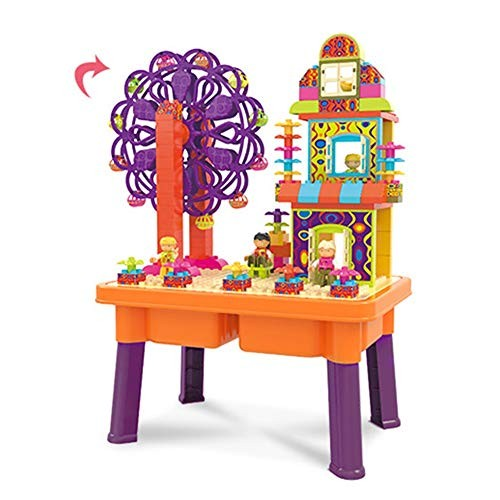 DERTHWER Building Block Game Table Children's Multi-Function Blocks Wooden Toy 3-6 Years Old Large Particles Assembled Orange Portable Folding
