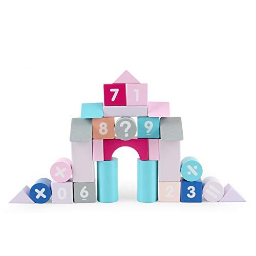 FRIDG Wooden Number Puzzle 50Pcs Set Macaroon Blocks Construction Building Numbers Learning Toy