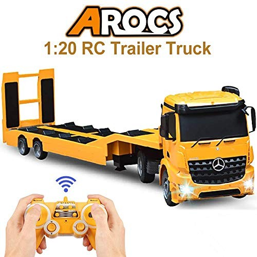 DOUBLE E RC Tow Truck Licensed Mercedes-Benz Acros Detachable Flatbed Semi-Trailer Engineering Tractor Remote Control Trailer Electronics Hobby Toy with Sound and Lights