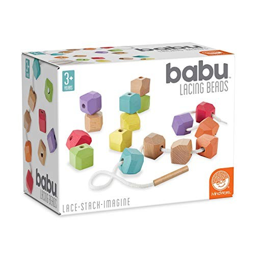 MindWare babu Wooden Baby Collection Lacing Beads Toys