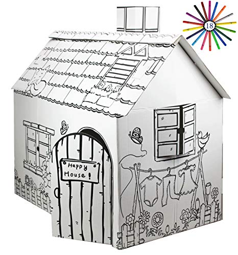 FUNTRESS Cardboard Playhouse for Kids with Markers to Color Gift Children Play Tent Kids 303x18x32 185 Inch