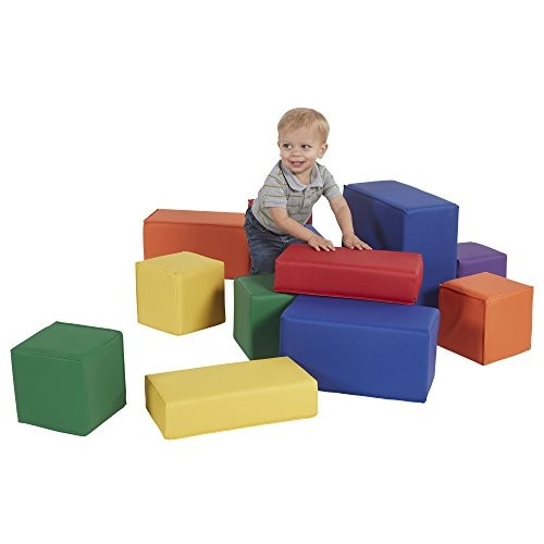 FDP SoftScape Stack-a-Block Big Foam Construction Building Blocks Soft Play Set for Toddlers and Kids 10-Piece Set – Assorted