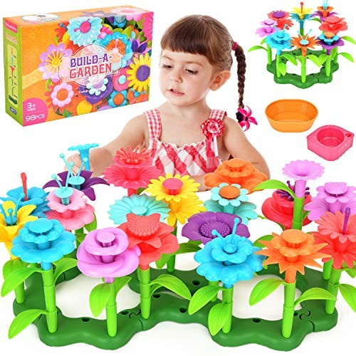 Victostar Flower Building Toy Garden Blocks Set for Kids 98 PCS Educational Creative Playset Age 4567 Year Old Gifts