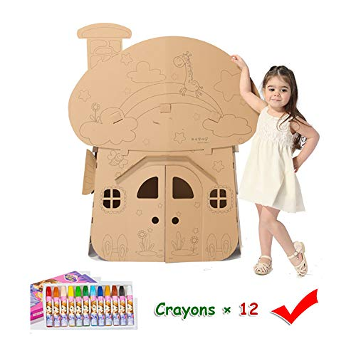 Cardboard Playhouse Children DIY Coloring Mushroom House Kit Role Playing Game Cottage Indoor Play Painting Paper Toys Foldable Premium Corrugated