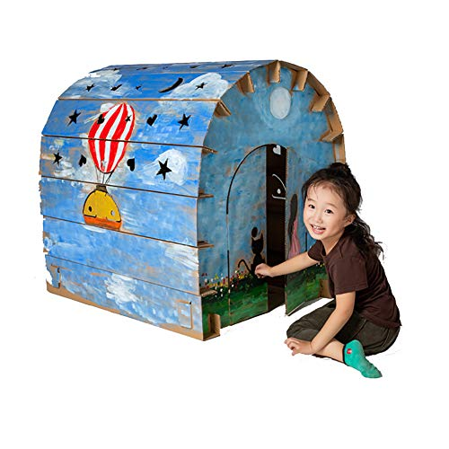 Cardboard Playhouse Children DIY Coloring Starry Sky House Kit Role Playing Game Cottage Indoor Play Painting Paper Foldable Premium Corrugated