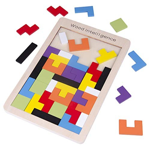 Refasy Kids Toys for Ages 4-8Wooden Tetris Puzzle Intelligence Educational Puzzles Toy Tangram Jigsaw 8-10 Wooden Building Blocks Game Best Birthday Gifts Adult