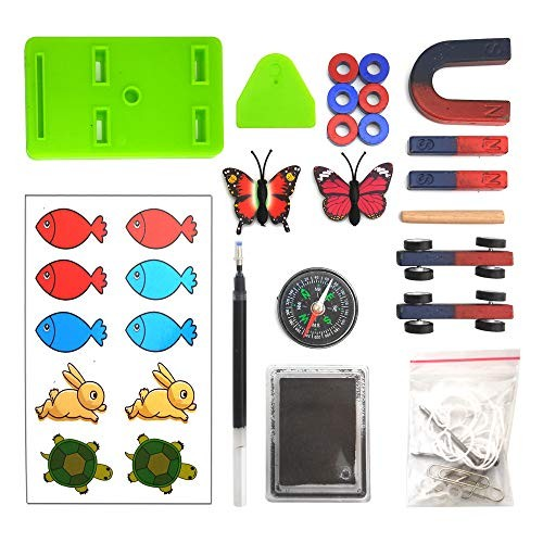 EUDAx Labs Junior Science N S Magnet Set for Education Experiment Tools Icluding Bar Ring Horseshoe Compass Magnets