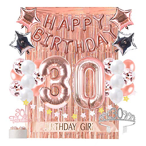 30th Birthday Decorations with Photo Props 30 Party Supplies Cake Topper Rose Gold Confetti Balloons for her Dirty Thirty Crown and Sash Curtain Backdrop Bday