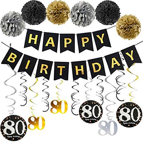 80th Birthday Party Decorations Kit 80 Year Old Supplies Favors Dcor for Women Men Gold Glitter Happy Banner Bunting Garland Poms Hanging Swirls Anniversary