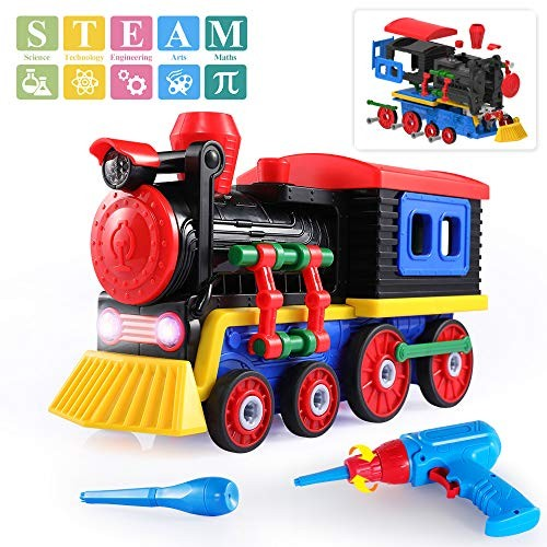 TEMI Take Apart Toys Train Set STEM Construction Kit w Sounds & Lights Educational Playset Battery Powered Drill Tools for Kids – Build Your Own