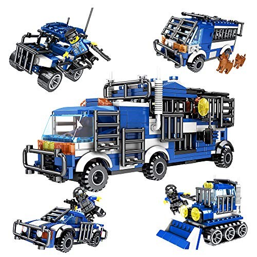 SNAEN 476PCS 4 in 1 Biochemical Police Building Blocks Car Set Car Bulldozer Reconnaissance Vehicle Anti-Explosion Truck Includes Minifigures Patrol Dogs and Toy Weapons for Boys Girls