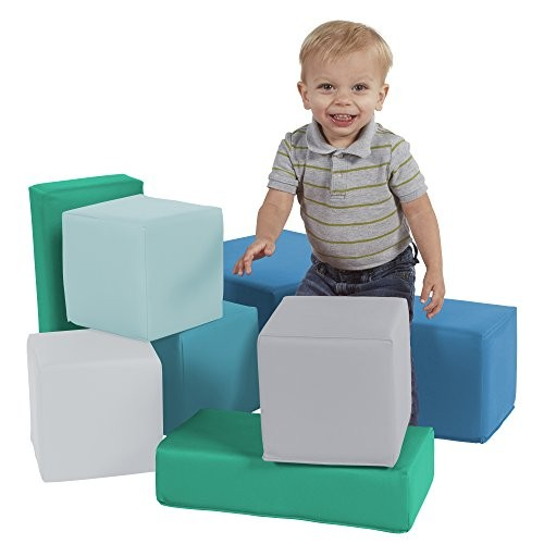 FDP SoftScape Stack-a-Block Big Foam Construction Building Blocks Soft Play Set for Toddlers and Kids 8-Piece Set – Contemporary