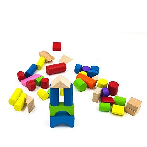 Qiupei Building Blocks for Children to Build Wooden Toys 40 Set
