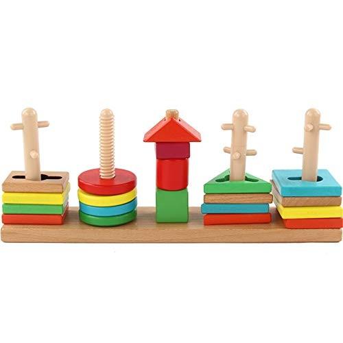 Qiupei Building Blocks Geometric Sleeve Shape Cognitive Disassembly Five-Column Toys Children's Wooden Puzzle