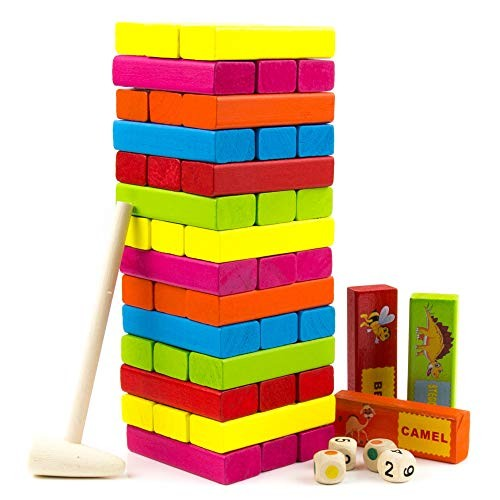 Tumbling Tower Stacking Game – Colored Wooden Block with Animals Educational and Fun Building Blocks for Kids Adults Toddlers Timber Wood Family Games 54pcs by Toysery