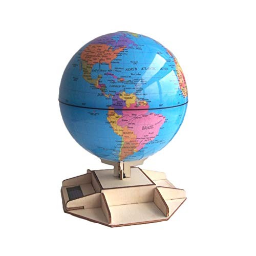 JUMERY Geographic Globes DIY Wooden Stand Solar Assembled Rotating Globe Teaching Aids Need Light Will Turn World Map