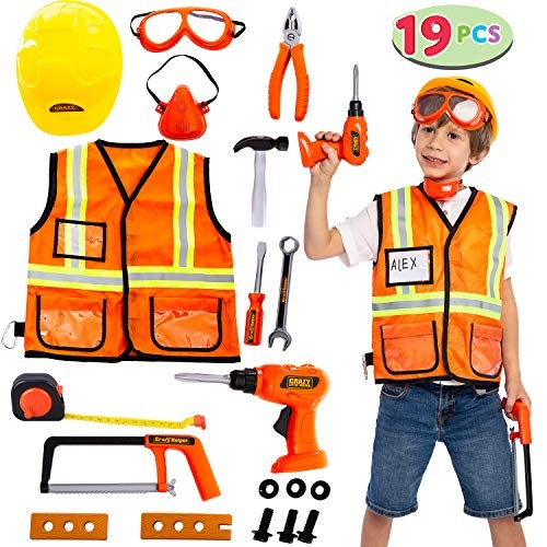 JOYIN Construction Worker Costume Role Play Tool Toys Set for 3-6 Great Educational Toy Gift Christmas and Birthday