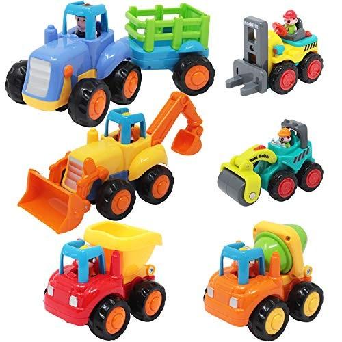 JOYIN 6 Cartoon Construction Vehicles Includes 4 Push & Go Friction Car Toys &