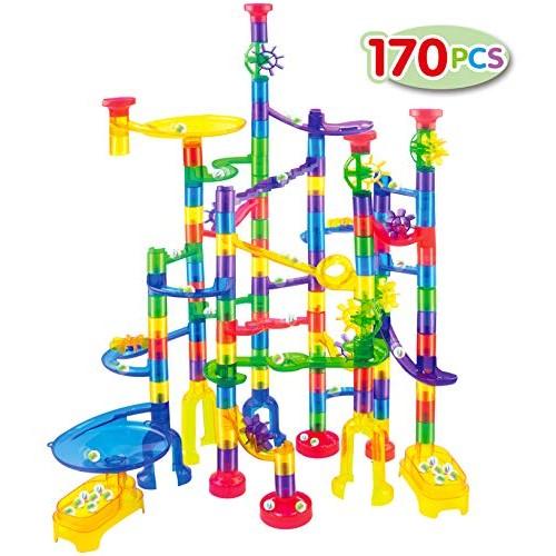JOYIN Marble Run Premium Toy Set 170 Pcs Construction Building Blocks Toys STEM Educational Block Toy 120 Plastic Pieces + 50 Glass Marbles