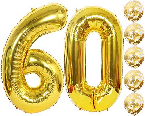 Junucubo Gold Number Balloons 60 Confetti 40 Inch Foil 5 12 Inch 60th Balloon 60th Wedding Anniversary Decor 60th Birthday Party Supplies